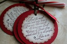 Love the scripture tags! Could be Christmas ornaments also.