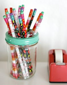 Jar lids are an easy way to brighten your desk space with a splash of color.