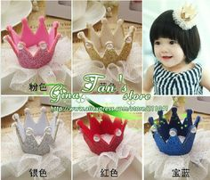 20Pcs New Fashion Colorful gauze pearl shiny Crown tiaras Cute baby hair clips Charming chird/Girl/Princess Hair Accessories g4