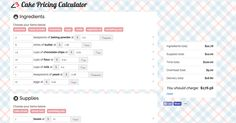 BakeCalc is a free cake pricing calculator that helps you easily figure out the total price of cakes, including ingredients, time, overhead, and delivery.