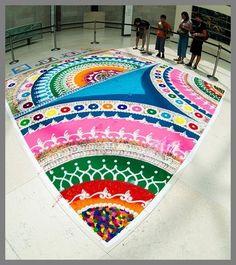 Colorful Rangoli Rangoli Patterns, Rangoli Designs Diwali, Diwali Rangoli, Kolam Designs, Mehndi Designs, Chalk Design, Diwali Celebration, Beautiful Mehndi Design, Bohemian Pattern