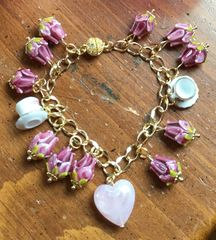 One of a Kind Pink Lampwork Bead and Tea Cup Bracelet