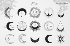 Cute Tiny Tattoos, Mini Tattoos, Small Tattoos, Moon Icon, Paar Tattoo, Star Illustration, Star Magic, Moon Magic, Sun And Stars