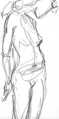 Life drawing - gesture, gestural, femme, figure, conté crayon, charcoal, art by Teresa Roberts Logan, http://www.Etsy.com/LaughingRedhead