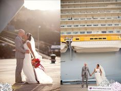 Set up a wedding shoot outside of the ship while in port.