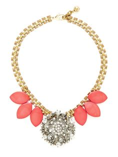 Coral Petal Statement Bib Necklace from Turquoise