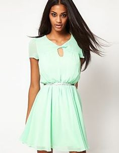 ASOS Skater Tea Dress with Twist Neck Pink or Mint Sz 8 14 RRP £35 New | eBay
