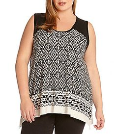 Karen Kane Plus Size Fashion Sand and Black Aztec Tribal Jacquard Border Tank Top available from Dillards #Sand #Black #Aztec #Tribal #Print #Jacquard #Border #Tank #Top #KarenKane #Fashion #Plus #Plus_Size #Baja #Resort #Resort_2015 #Spring_2015 #Plus_Size_Fashion #Dillards