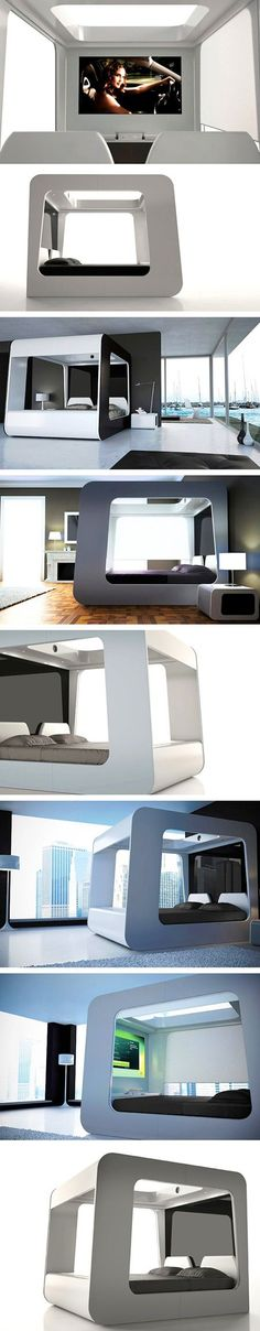 7 Pictures of Hi-Can, the Futuristic Bed with an Integrated TV Display - TechEBlog