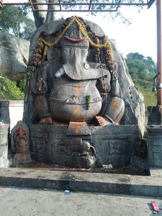 A Ganesha crafted out of a boulder to bless the construction of the temple. Ganesh Temple, Ganesha, Shiva, Krishna, Sai Baba, Indian Gods, Gods And Goddesses, Blessed, Construction