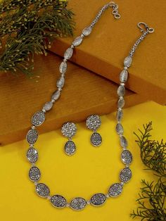 Jumkey Purple Silver Plating Floral Design Long Necklace Set – Jumkey Fashion Jewellery Silver Earrings, Silver Jewelry, Fashion Jewelry Stores, Oxidised Jewellery, Oxidized Silver, Anklets, Necklace Set, Beaded Jewelry, Floral Design