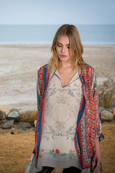 Johnny Was Collection Fall 2015 Lookbook featuring the ROSE FLOWY TUNIC & SARI BUTTON-DOWN BLOUSE