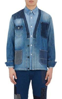 Fdmtl Patchwork Denim Shirt Jacket In Blue Mens Designer Coats, Denim Button Up, Button Up Shirts, Denim Shirt Men, Denim Patchwork, Shirt Jacket, Jeans Style, Mens Fashion, How To Wear
