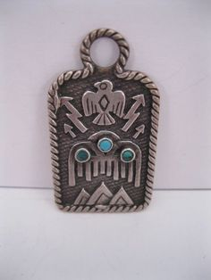 THE BEST Old Navajo Fred Harvey Silver & Turquoise Fob / Pendant