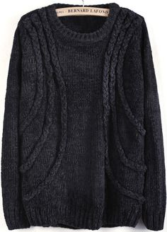 Long Sleeve Cable Knit Loose Sweater by She Piner