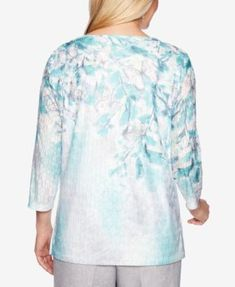 09a83ca8cb4e5 Alfred Dunner Petite Versailles Mixed-Print Embellished Top