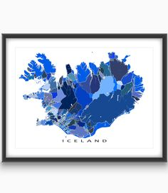 Iceland map print featuring the beautiful country of Iceland!   This Iceland print has a modern design made from many little blue shapes. Each shape is actually a city block or a piece of land that combines with city streets - like a puzzle or mosaic - to form this Iceland art. #Iceland #map #reykjavik