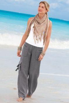 Weekend Linen Pants - Drawstring, Zip Fly, Brass Buttons, Side Pockets | Soft Surroundings
