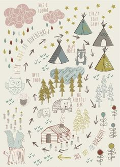Nature, animal and forest-themed Poster, Wall Art for Kids by Jayne Tiffany. Check out a large choice of wall art & posters for kids rooms at L'Affiche Moderne online gallery Art Wall Kids, Wall Art, Grafik Design, Cute Illustration, Forest Illustration, Whimsical, Kids Room, Creations, Artsy