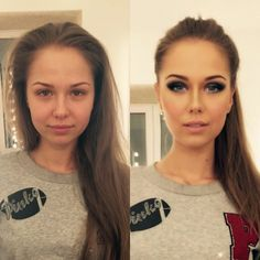 Makeup magic before and after