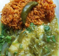 Fish in Cactus Salsa Verde with Chipotle Rice HispanicKitchen.com