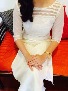 White kurta with awesome neck design Kurta Designs Women, Salwar Designs, Dress Neck Designs, Blouse Designs, Churidhar Neck Designs, Salwar Pattern, Kurti Patterns, Gown Pattern, Kurtha Designs