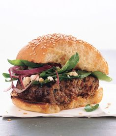 Greek Lamb Burgers with Spinach and Red Onion Salad Photo - Burgers Recipe | Epicurious.com