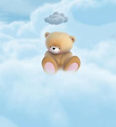 Sad little bear under a cloud
