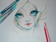 My second try next to the Elf girl - Marina the Mermaid  I like the idea of doing a little series of mythical creatures in this style. Can you think of some more you would like to see?