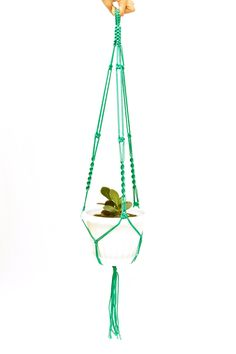 #HangingPlanter - #HomeDecor - Green Macrame  Plant  Hanger 28 inches 3mm - Balcony Hanging Planter by DanceOfTheSoul on Etsy