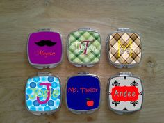 Set of 6 Personalized Monogrammed Compact Mirror. Great For Bachelorette Gifts, Wedding Party Gift, Graduation, Mother's Day.