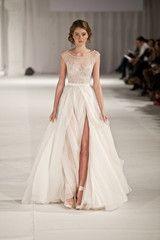 Paolo Sebastian Swan Lake Wedding Dress with Nude Bustier