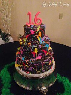 neon splatter paint cake - www.KellysCakery.com