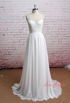Sheer Back Wedding Dress Illusion Neckline Wedding by LaceBridal