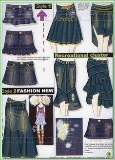 Resultado de imagem para como fazer uma saia de uma calça jeans