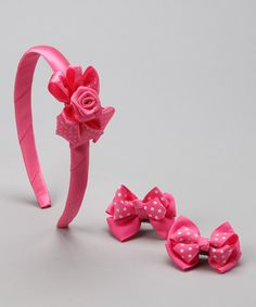 Take a look at this Pink Polka Dot Headband Set by Bows and Barrettes on #zulily today!