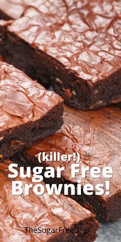 Sugar Free Deserts, Sugar Free Snacks, Low Sugar Desserts, Sugar Free Baking, Sugar Free Sweets, Sugar Free Cookies, No Sugar Foods, Sugar Free Recipes, Diabetic Desserts Sugar Free Low Carb