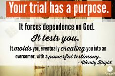 If you're in the midst of a trial, be encouraged, sweet friend. Our key verse teaches that God promises to mature and complete you through it. He also promises that you will be more than a conqueror through Christ who loves you. Pay attention to those words. Not a mere conqueror…but more than a conqueror (Romans 8:37). Click link below for more. http://proverbs31.org/devotions/devo/trials-come-so-that/