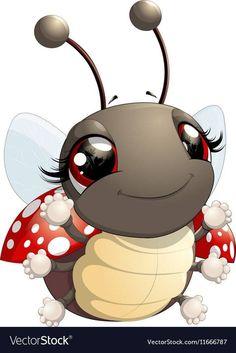 Cute ladybug cartoon vector image on VectorStock Ladybug Cartoon, Cartoon Bee, Ladybug Art, Bee Pictures, Cute Cartoon Pictures, Cartoon Pics, Baby Animal Drawings, Cute Drawings, Bisous Gif