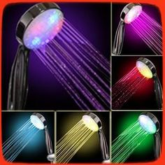 [Visit to Buy] 7 color Auto change Romantic LED Lighting Hand shower Bathroom Rainfall Shower Head massager chuveiro ducha douche banheiro 9047 Bathroom Shower Heads, Led Shower Head, Bathroom Ideas, Bathroom Stuff, Bath Shower, Shower Faucet, Shower Party, Sprinkler, Bathroom Fixtures