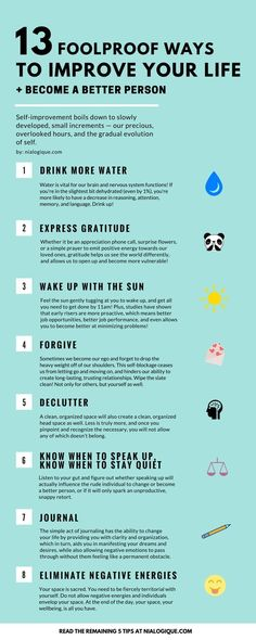 13 Foolproof Ways to Improve Your Life   Become a Better Person | Infographic, Self-Improvement, Health #weightlossbeforeandafter