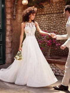 Ardelle ivory over nude wedding dress by Rebecca Ingram. A princess wedding  dress with elegant f65749784817