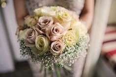 Maggie Sottero for a Romantic Wedding at Matfen Hall. Pink and cream wedding bouquet.  Image by Helen Russell Photography.  Read more: http://bridesupnorth.com/2015/12/02/just-peachy-maggie-sottero-for-a-romantic-wedding-at-matfen-hall-lisa-paul/
