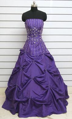 Ball-Gown Beading Sleeveless Floor-length Taffeta Prom Dresses / Evening Dresses. $159.00, via Etsy.