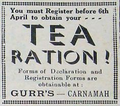Advertisement from early April 1942 advising the deadline to register for tea rationing. In the interests of business forms could be obtained at Eric H. Gurr's general store at 7 Macpherson Street in Carnamah.