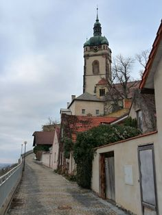 Mělník, old town - typical street view and church