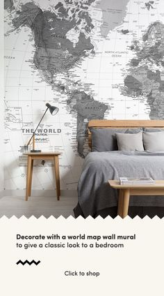 Checkout this detailed black & white world map wallpaper, an intriguing design perfect for minimalist bedroom decor. World Map Mural, World Map Decor, World Map Wallpaper, Room Ideas Bedroom, Bedroom Decor, Bed Room, Kids Bedroom, Diy Home Bar, Feature Wall Bedroom