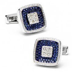 Sapphires & Diamond Square Cufflinks