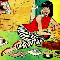 Veronica gabs and spins the vinyl