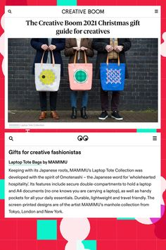 Featured on Creative Boom, MAMIMU tote laptop tote bags are stylish and secure way to carry a laptop and all your daily essentials. #bag #totebag #giftidea #laptopbag #japanese
